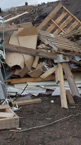 Vinyl in wood pile